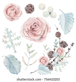 watercolor set of  botanical illustrations. Perfect for christmas and winter wedding design.