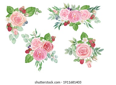 watercolor set with bouquets of roses
