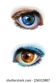 Watercolor set with bright eyes. Hand drawn illustration