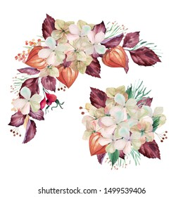 Watercolor set with burgundy autumn flowers and bouquets. Great foe autumn weddings in country or boho style. Elegant arrangements
