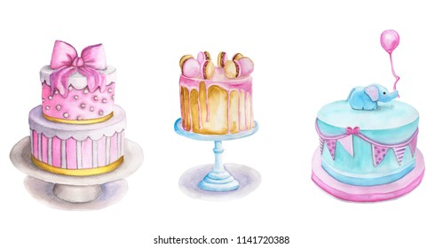 Watercolor set of cakes. Illustration isolated on a white background. For greeting birthday postcard, poster for cafe, bakery and pastry shop.
