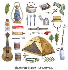 Watercolor set of camping and hiking equipment, outdoors adventure, recreation tourism. Isolated items needed in the journey.