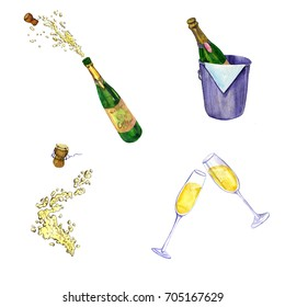 watercolor set of champagne, bottles, splash and glasses, hand drawn illustration