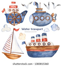 Watercolor set with children's cartoon cute ships, lighthouse, boat, submarine. Great for cards, invitations, blogs, birthday, baby shower, prints, travel.