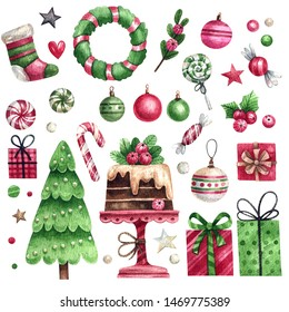 Watercolor set of christmas elements in red-green colors. Xmas tree, gifts, wreath, decor, hand-drawn desserts and sweets. Christmas elements for stickers, cards, invitations, backgrounds and other