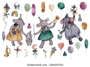 Watercolor set of circus elements. Bright hand-drawn elements, circus elefants, colorful balloons, magir wands, circus caps, rainbow, drum, trumpet.