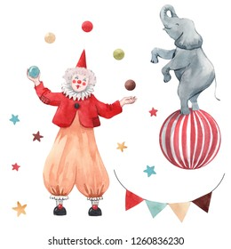 Watercolor set of circus isolated objects, juggler, elephant on the ball, garland with flags. greeting card