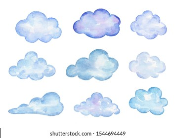 Watercolor set of clouds isolated on white background.