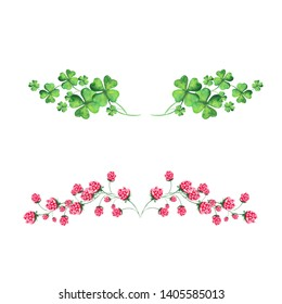 Watercolor set with clover, horseshoe and flowers of clover. Perfect for postcards for St. Patrick's Day