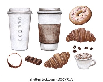 Watercolor set with coffee, croissant, chocolate and more. Hand painted