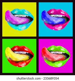 Watercolor set with colorful lips and tongues on a bright background. Hand drawn illustration.