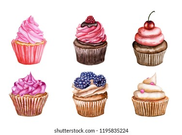 Watercolor set of cupcakes with cream and berry. Cakes is isolated on white background. Muffins for cafe and pastry shop