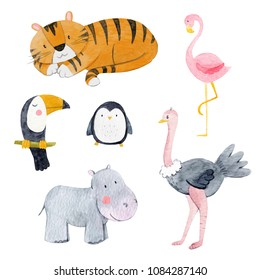 Watercolor set of cute baby animals, tiger, penguin, bird, ostrich, toucan, flamingo, hippopotamus, Set of isolated objects