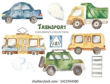 Watercolor set with a cute cartoon kids transport for a boy. Cars, bus, tram, truck for baby shower, cards, invitations, prints, logos.
