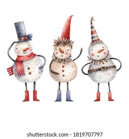 Watercolor set of cute cartoon style snowman. Childish hand-drawn illustration isolated on the white background. Christmas illustration of funny snowmen in vintage style.