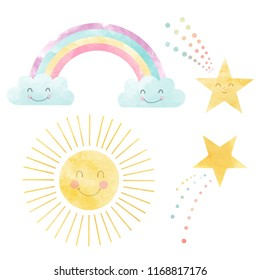 Watercolor set of cute children's illustrations, sun with a smile, rainbow with clouds and falling stars