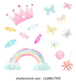 Watercolor set of cute children's illustrations, pink princess crown, butterflies, candy and sweets, rainbow