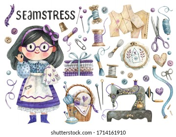 Watercolor set of cute girl seamstress and tailor tools - fabrics, sewing machine, ribbons, scissors, buttons, beads, threads. Hand-drawn character and objects isolated on white background.