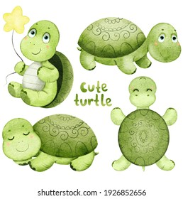 Watercolor set of cute green cartoon turtles. Isolated on white.