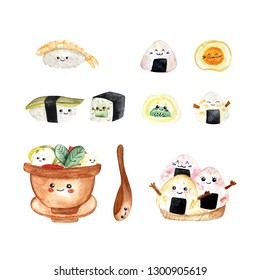 Watercolor set of cute icons of sushi and rolls in kawaii style with smiling face and pink cheeks. Traditional Japanese food. Avocado sushi, sushi with shrimp, roll with avkado, miso soup, onigiri.
