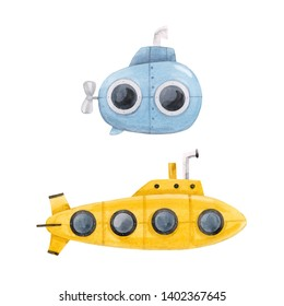 Watercolor set of cute isolated illustrations. Yellow and blue submarine. Bathyscaphe