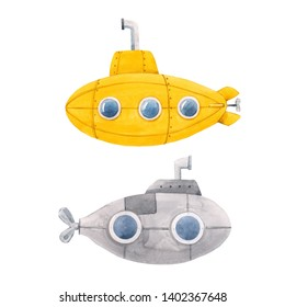 Watercolor set of cute isolated illustrations. Yellow and gray submarine. Bathyscaphe