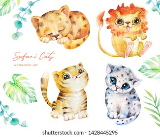 Watercolor set of cute wild kittens. Kids characters lion cub, tiger, leopard, snow leopard. Isolated from belgo background. Safari animals. Hand drawn