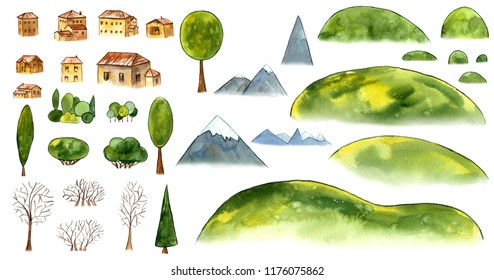 Watercolor set of details small village. Hills, trees, houses on white background