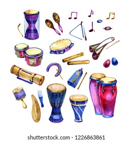 Watercolor set of different traditional ethnic percussion instruments
