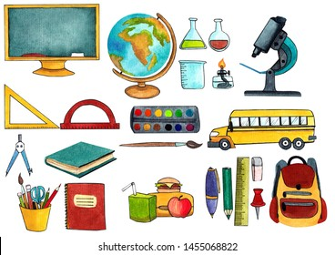 watercolor set drawn by watercolor, digitally isolated clipart. back to school, school accessories. postcard to school again