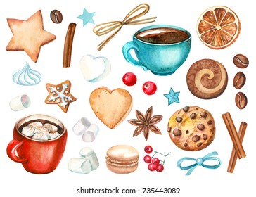 watercolor set of elements. Star, heart,  cup and sweets, biscuit, macaroon, marshmallow, meringue, red berries cranberries, dried orange, cinnamon, anise, coffee beans.