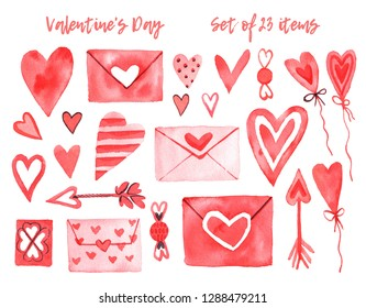 Watercolor set with elements for Valentine's Day on a white background.Hearts, sweets, balls, gifts and other cute items.