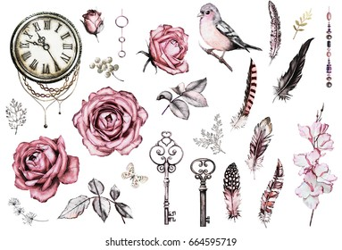 watercolor set with a finch, pink roses, keys, clock, feathers, jewelry, berry and herbs. Flowers and a bird in a tattoo style. Illustration isolated on white background. Vintage.