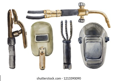 Watercolor set of five elements on the topic of welding. There are two types of vintage electrode holders in the collection, two types of modern and first cardboard masks, a torch for gas welding