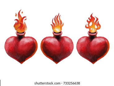 Watercolor set of flaming hearts isolated on white background. Hand painted old school tattoo design. Traditional style