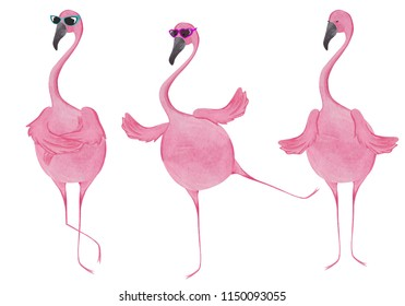 Watercolor set of flamingos