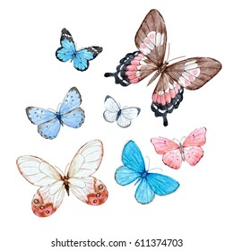 A watercolor set of flying butterflies