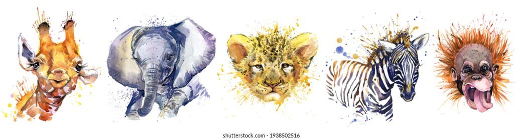 Watercolor set of forest isolated cute baby elephant, giraffe, lion, monkey, zebra animal. woodland illustration.