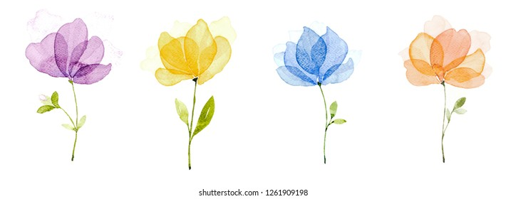 Watercolor set of four flowers hand-painted. Purple, yellow, blue and orange flowers can be used as being an element in the design of invitation, wedding or greeting cards.