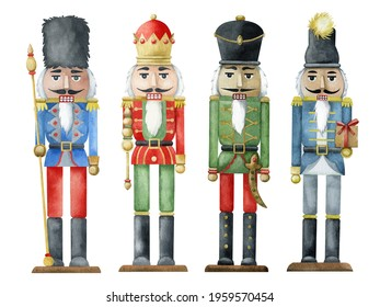 A watercolor set of four hand-drawn nutcracker soldiers. A Christmas card. Winter holidays.