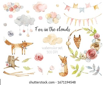 Watercolor set with fox, clouds and forest elements. Flower frame.Children cliparts with animals.