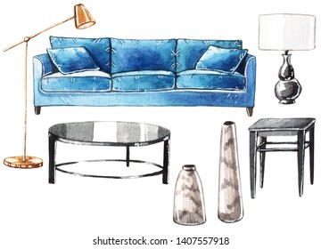 Watercolor set of furniture: blue sofa, black coffee table and lamp, vases and brass floor lamp.