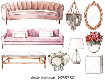 Watercolor set of furniture: pink and art deco sofas, chandelier, marble and brass coffee table, rococo mirror and vases with flowers.