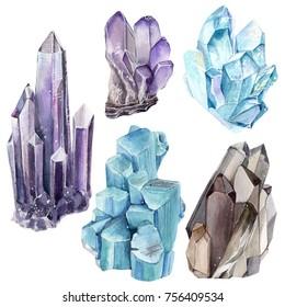 Watercolor set with gemstones. Perfect for elegant boho design.