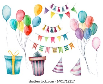 Watercolor set with gift boxes, garland and air balloon. Hand painted box with bow isolated on white background. Greeting ornament for design or background. Party print. Birthday background
