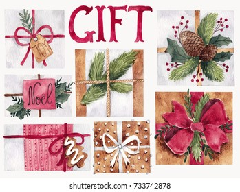 Watercolor set with gifts