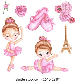 Watercolor set with girl ballerina dancer in pink ballet dress, Eiffel Tower, ballet pointes, roses. Hand-drawn illustration isolated on white background.
