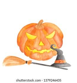 Watercolor set for halloween. Pumpkin, witch hat, broom, garland, lantern, bat, balls, cobweb, spider.