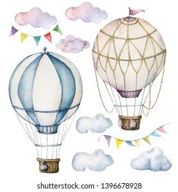 Watercolor set with hot air balloons and garland. Hand painted sky illustration with aerostate, clouds and flags isolated on white background. For design, prints, fabric or background