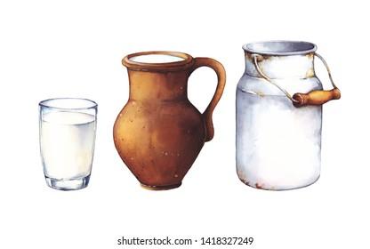 Watercolor set illustration. Antique ceramic, milk jug, metal milk jug and glass of milk isolated on white background